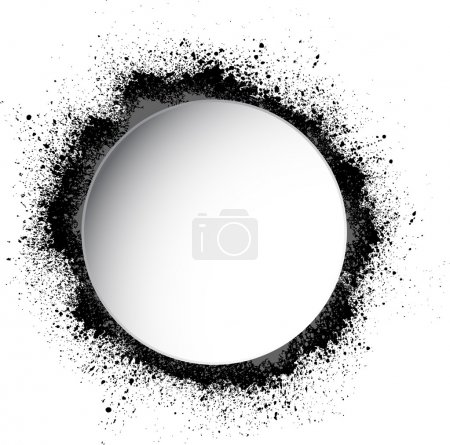 Circle white frame with spray paint blots...