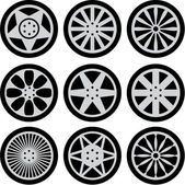 Set of nine black wheels silhouettes