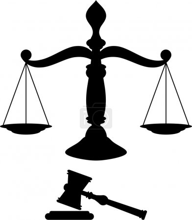 Illustration for Black silhouette of scales of justice with gavel - Royalty Free Image