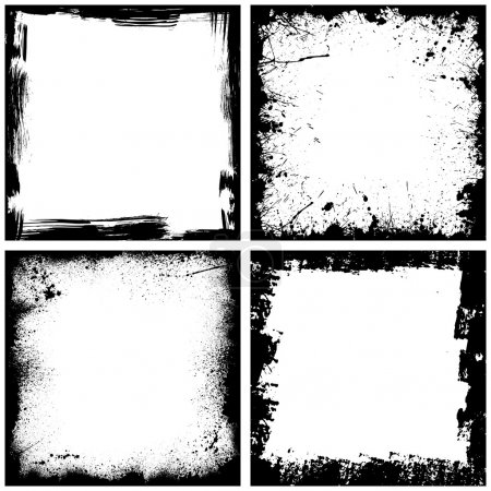 Illustration for Set of four black grunge square backgrounds. eps10 - Royalty Free Image