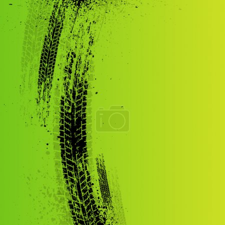 Tire tracks background green