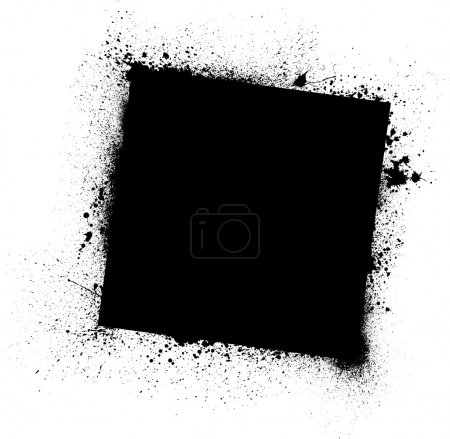Illustration for Black ink blots square frame on white. eps10 - Royalty Free Image