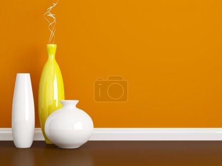 Creative vases on the floor.