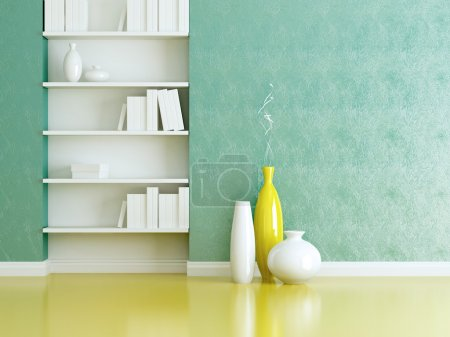 Photo for Interior design scene. Bookshelves and vases with brunches. - Royalty Free Image