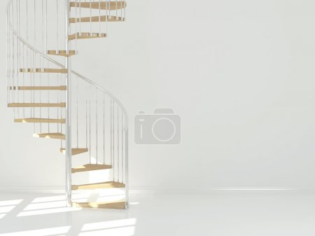 Photo for Empty white room with circular staircase, interior design. 3d render - Royalty Free Image