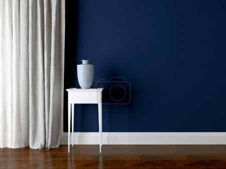 Photo for Classic living room wall. Luxury interior design, vase on the table. - Royalty Free Image
