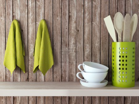 Photo for Wooden cooking utensils and cups on shelf. Vintage kitchen design. - Royalty Free Image