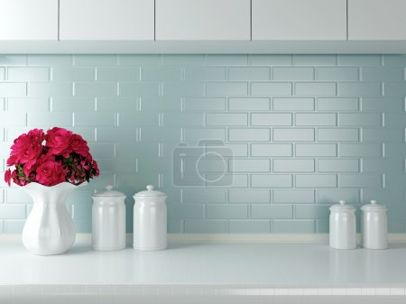 Photo for Ceramic tableware on the worktop. White kitchen design. - Royalty Free Image