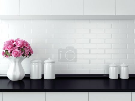 Photo for Ceramic tableware on the worktop. Black and white kitchen design. - Royalty Free Image