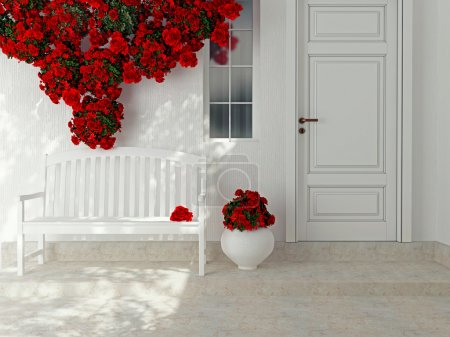 Photo for Front view of a wooden white door. Beautiful red roses and bench on the porch. Exterior of a house. - Royalty Free Image