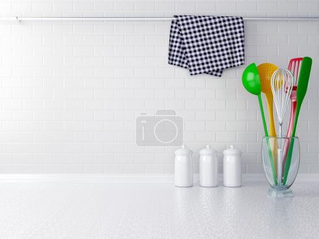 Photo for Colour utensils on the white worktop. Kitchen interior. - Royalty Free Image