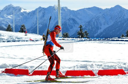 "Photo for SOCHI, RUSSIA - FEBRUARY 9: Unidentified athletes competes in IBU Regional Cup in Sochi on February 9, 2013. The combined ski-biathlon complex ""Laura"". Men's Pursuit. - Royalty Free Image"