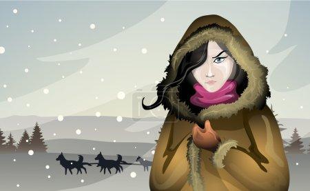 Illustration pour Beauté fond promenades nord à Husky - image libre de droit