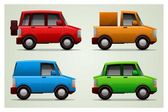 Set of 4 vector cars