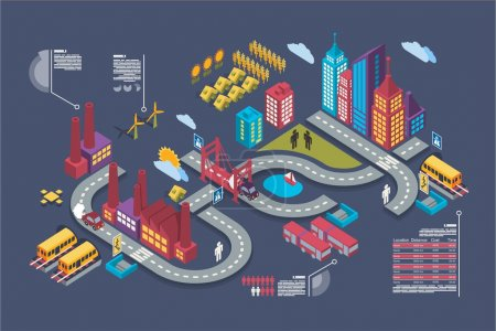 Photo for Colorful isometric city, vector background, city info graphics - Royalty Free Image