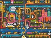 Colorful city info graphic