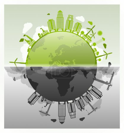 Illustration for Ecology vs pollution vector planet - Royalty Free Image