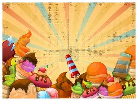 Illustration pour Fond coloré de crème glacée, éléments vectoriels - image libre de droit