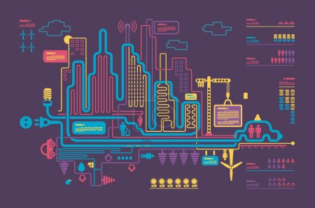 Colorful panorama city, vector background, city in...