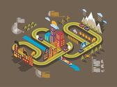Colorful isometric city vector background ecology info graphics