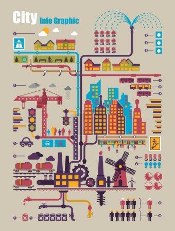 Foto de Ciudad elementos de información gráfica, industria y ecología vector - Imagen libre de derechos