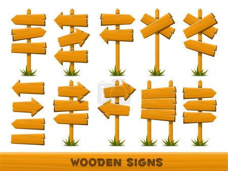 Illustration for Wooden arrow signs, vector set of 10 arrows - Royalty Free Image