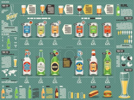 Illustration for Set of beer cans and bottles, vector background,infographics - Royalty Free Image