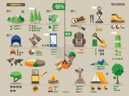 Photo pour Randonnée de montagne et d'escalade illustration vectorielle info - image libre de droit