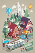Isometric colorful vector background with ski resort and mountains