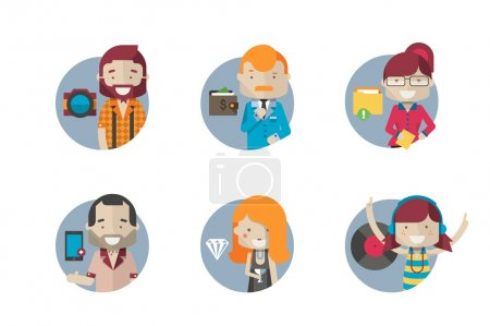 Illustration for Six round icons with hipster characters - Royalty Free Image