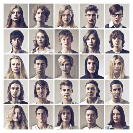 Photo pour Beaucoup de visages de filles différentes, garçon et femme. - image libre de droit
