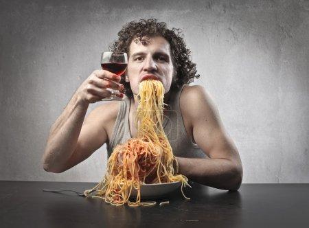 Man Gorging of Spaghetti