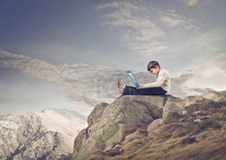 Laptop on the Mountain