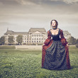 Beautiful lady of the eighteenth century in her pa...
