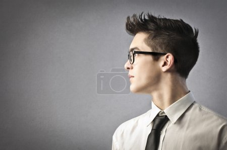 Photo for Man profile portrait on gray background - Royalty Free Image