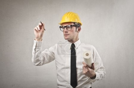 Photo for Engineer drawing on virtual wall - Royalty Free Image