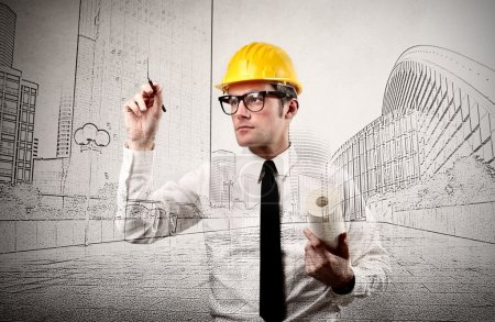 Photo pour Architecte conçoit des bâtiments - image libre de droit