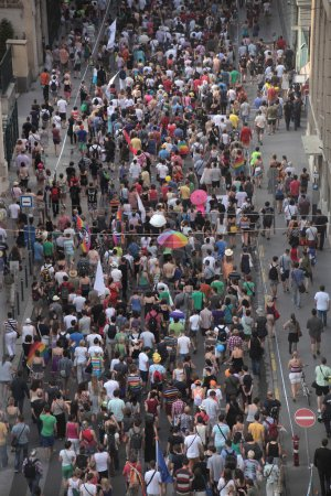 Photo for Lots of people walking all together in a huge street - Royalty Free Image