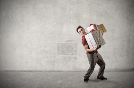 Man carrying presents