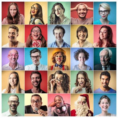 Photo pour Des hommes et des femmes heureux avec une expression joyeuse - image libre de droit