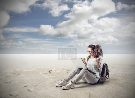 Photo for A girl is winning online - Royalty Free Image