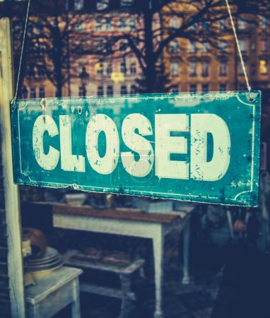 Photo for Retail Image Of Grungy Vintage Closed Sign In Furniture Boutique Store - Royalty Free Image