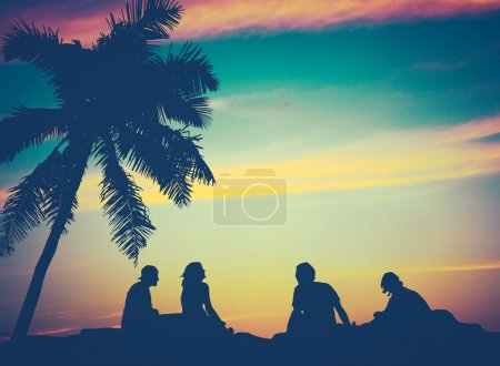 Photo for Retro Filtered Image Of Friends By The Beach in Hawaii - Royalty Free Image