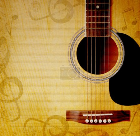 Photo for Musical square background with guitar and musical notes - Royalty Free Image