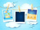 Holidays photo frames on sky background vector eps10