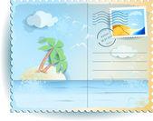 Tropical sea vintage postcard Vector background