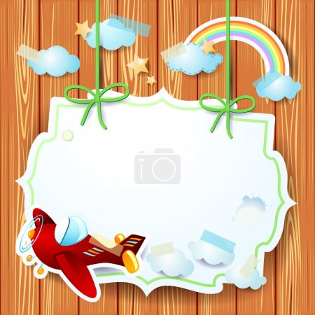 Illustration for Airplane and label on wooden background, vector eps10 - Royalty Free Image