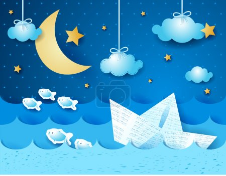 Illustration for Paper boat at night, vector eps10 - Royalty Free Image