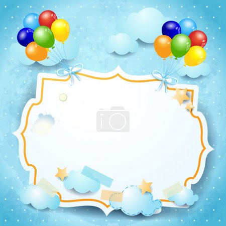 Balloons and label, custom background. Vector eps1...