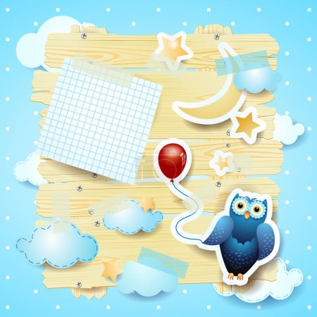 Illustration for Fantasy background with owl, vector eps10 - Royalty Free Image